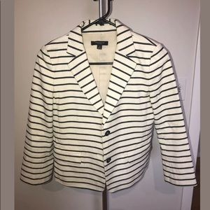 Ann Taylor Black and Cream Striped Suit Jacket 0